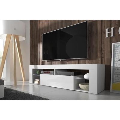 Meuble TV Hugo blanc mat/blanc brillant sans LED - Achat / Vente meuble tv Meuble TV Hugo blanc mat/bl panneau stratifié - Soldes* dès le 10 janvier Cdiscount