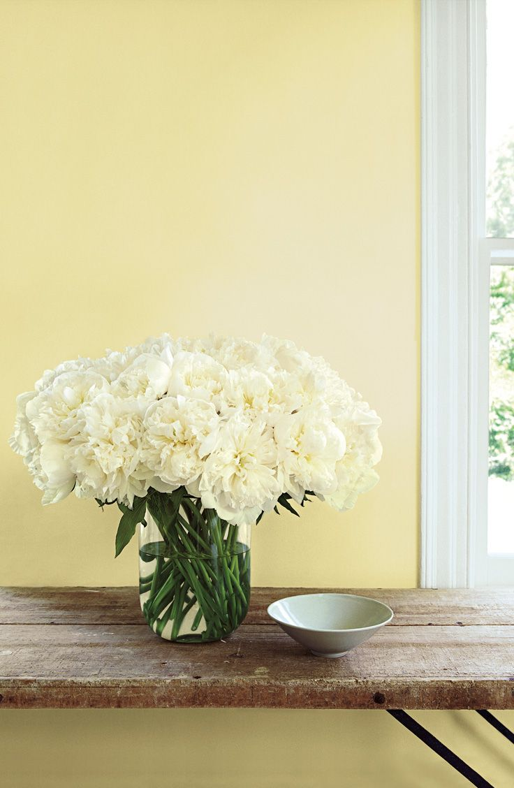 Ralph Lauren Paint's sweet pale yellow Port Grace reflects a soft light behind a bouquet from the garden.