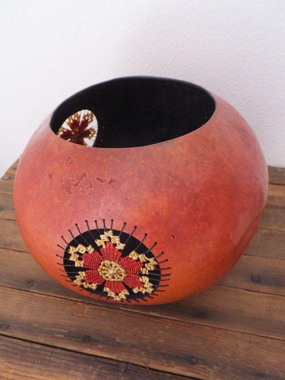 Art Gourd Vessel Gourd Object Sculpture Native Style Decor