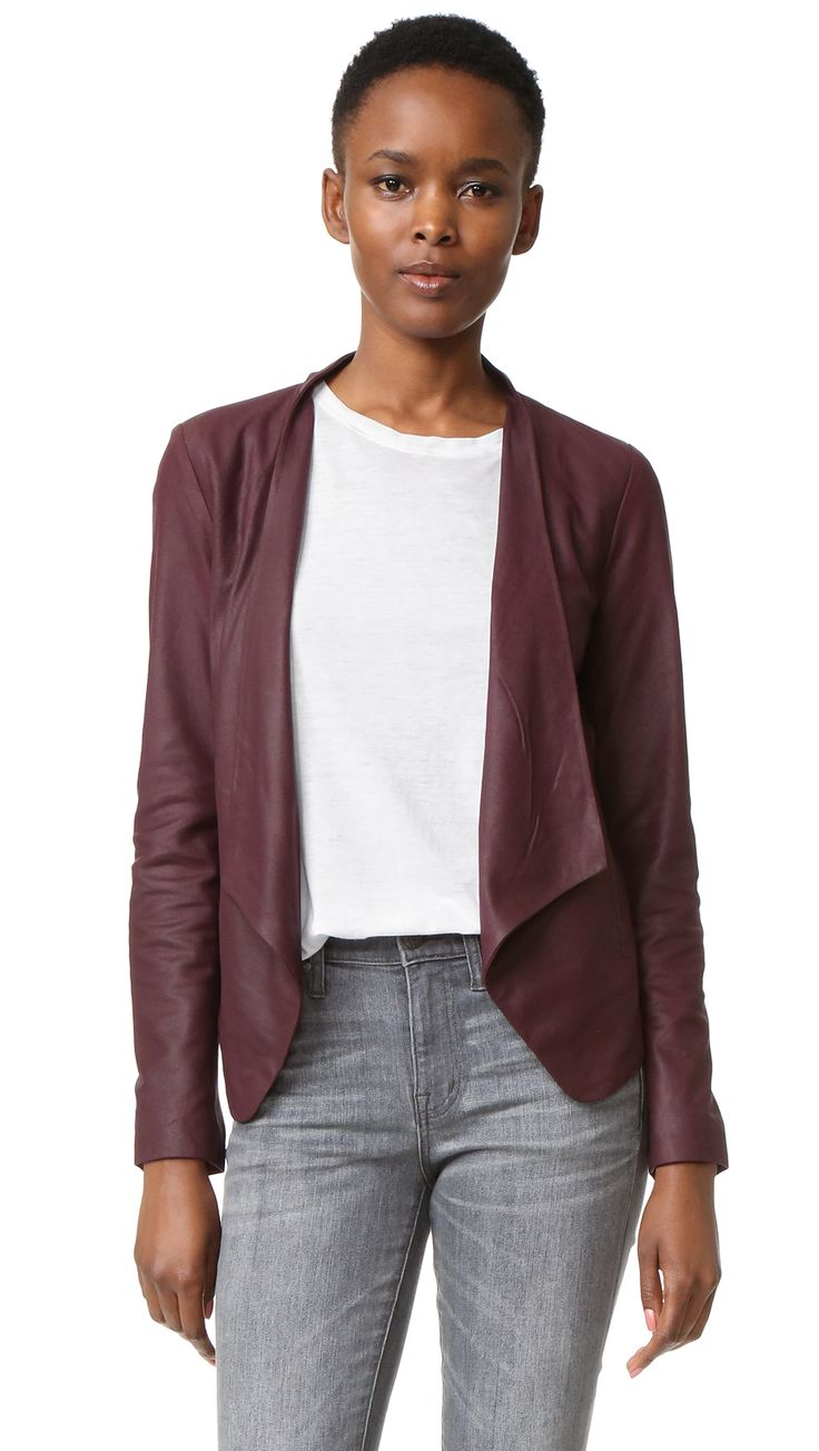 ¡Cómpralo ya!. Bb Dakota Wyden Leather Jacket - Aubergine. A cropped BB Dakota leather jacket with an asymmetrical drape. Open placket. Welt front pockets. Long sleeves. Lined. Fabric: Suede. Shell: 100% lambskin. Lining: 54% polyester/46% viscose. Leather clean. Imported, China. Measurements Length 1: 20.75in / 53cm, from shoulder to shortest point Length 2: 24.5in / 62cm, from shoulder to longest point Measurements from size S. Available sizes: L , chaquetadecuero, polipiel, biker, ante…