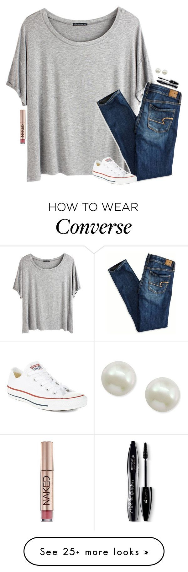 """""""lazy (lay-ZHEE) ; adj. ; to have massive inactivity or no desire to do anything"""" by classychic03 on Polyvore featuring Chicnova Fashion, American Eagle Outfitters, Converse, Lancôme, Urban Decay and Majorica"""