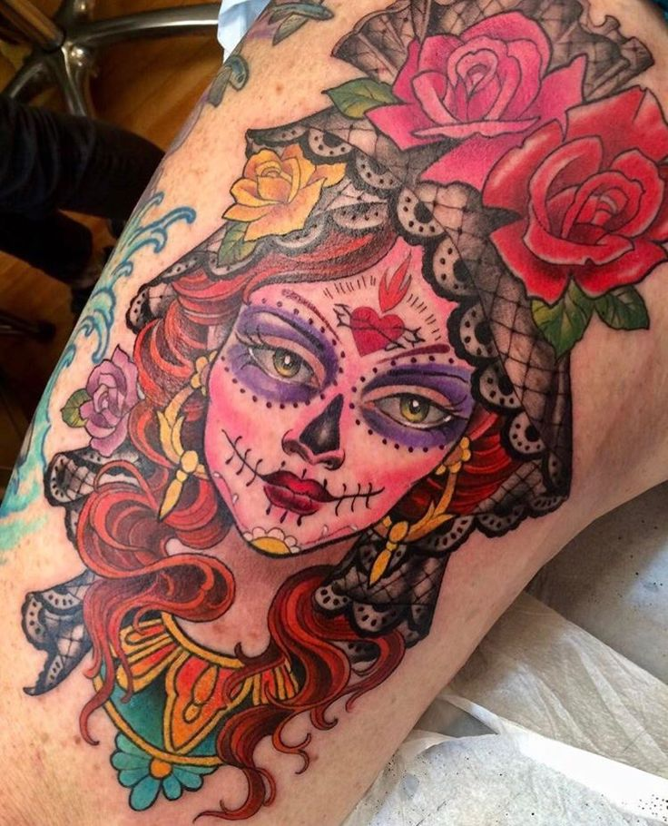 Sugar skull tattoo by Kim Saigh at Memoir Tattoo