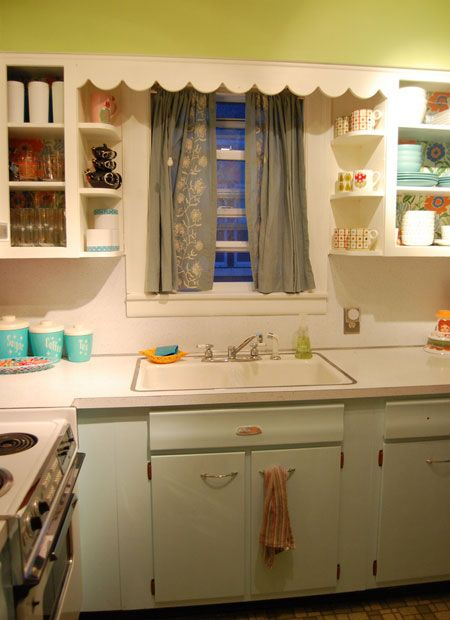 light blue and yellow kitchen