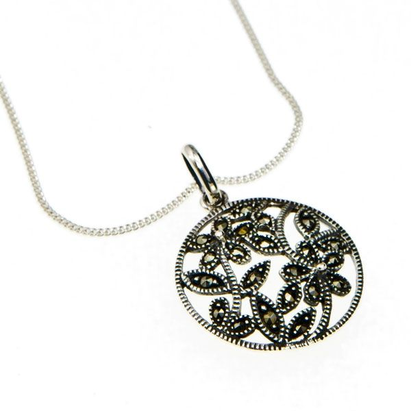 Marcasite Round Pendant with Flower Design. #Sterlingsilver #jewelry #pendants #necklace