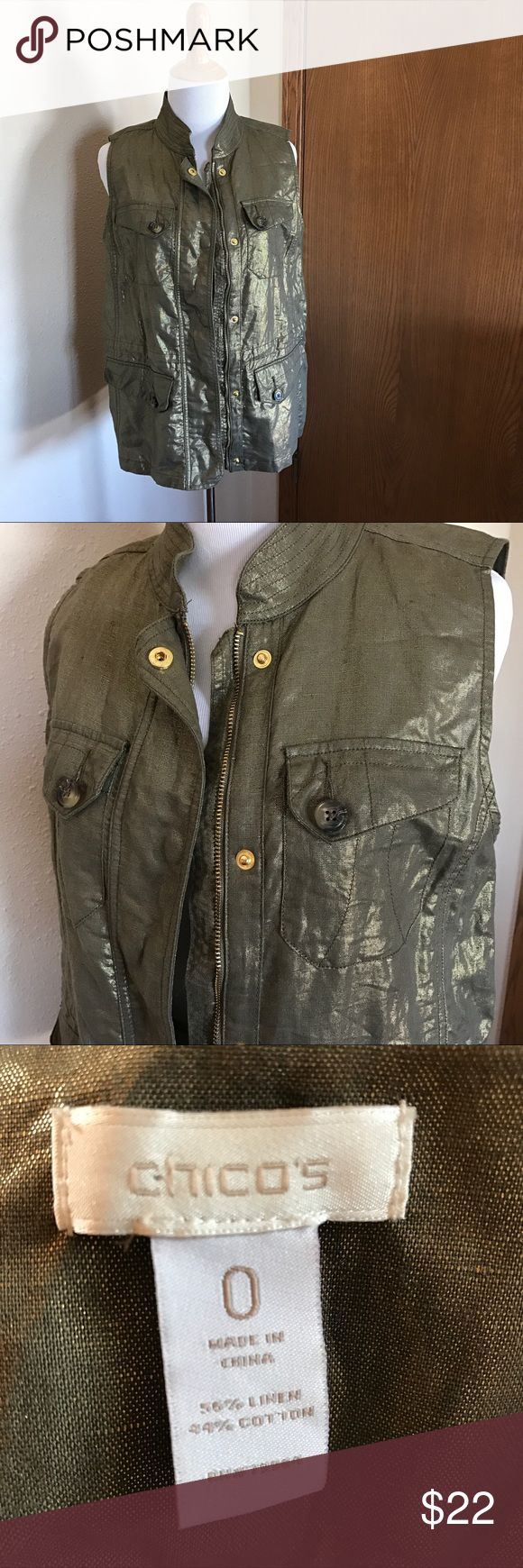 Chico's Gold Metallic Vest Beautiful lightweight vest, perfect for any occasion or season! Make an offer! Chico's Jackets & Coats Vests