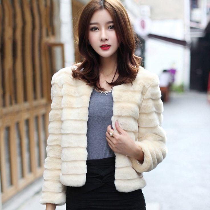 Autumn New Fashion Women Faux Fur Jacket Elegant Faux Rabbit Fur Coat Short Slim Outerwear Fur gilet fourrure abrigo de pelo