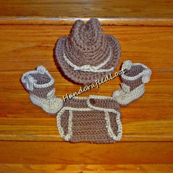 Newborn 0-3 Months Baby Crochet Cowboy Hat & by HandcraftedLoot
