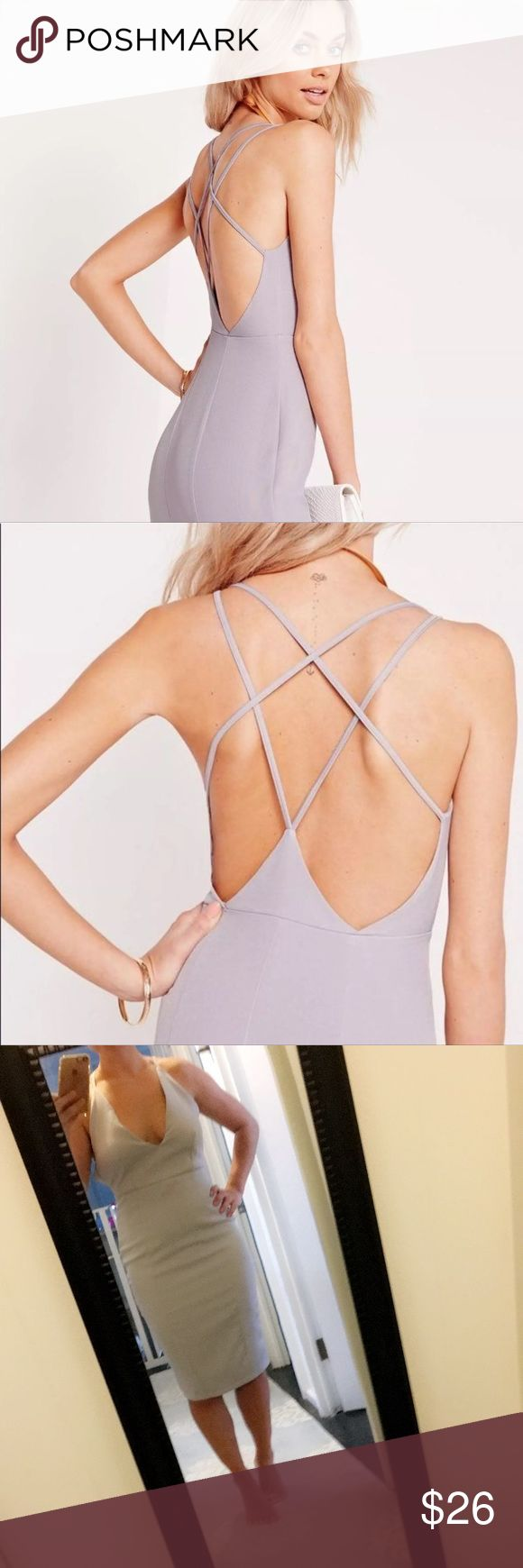 Missguided Strappy Lilac Midi Dress This dress is so adorable! The color is sort of a taupe/light blue/lavender color, but considered lilac. Cami straps, midi length, and has a split! Missguided Dresses Midi
