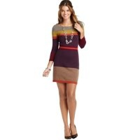 """Colorblock Stripe Ribbed Waist Sweater Dress - In a curve-seeking knit, this flirty style is detailed with jewel-toned colorblocked stripes - to flatter in all the right places. Boatneck. 3/4 sleeves. Ribbed trim at neckline, cuffs, waist and hem. 35"""" from shoulder to hem."""