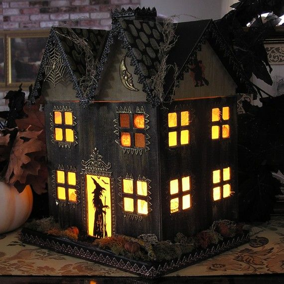 Light up haunted house paper mache halloween folk art for How to make a cardboard haunted house