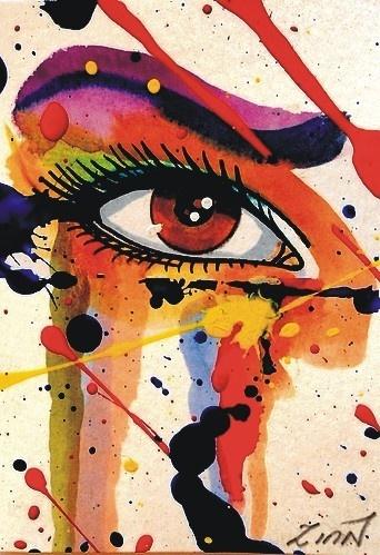 "Aceo  Original    ""FRIDAY NIGHT""    EYE     paint      ZINN"