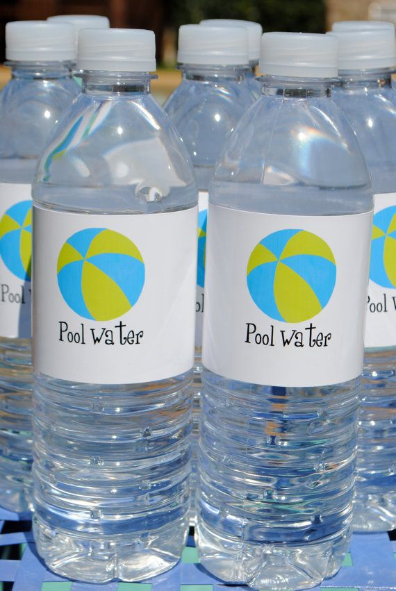 Pool Water Swim Party Water Bottle Labels