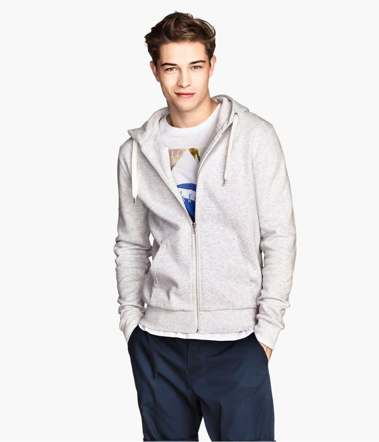 Light gray zip-up hoodie with drawstring and front pockets. Soft, brushed inside.│ H&M Men