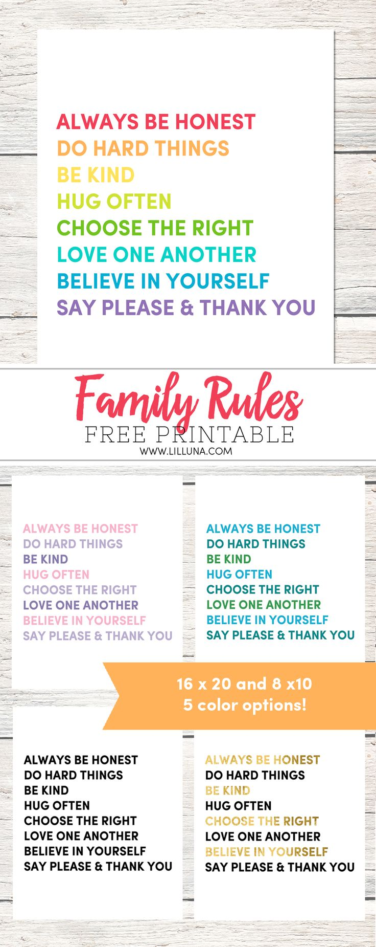 FREE Family Rules Printable available to print and download in 5 colors. Perfect to display in your home, especially in a playroom!