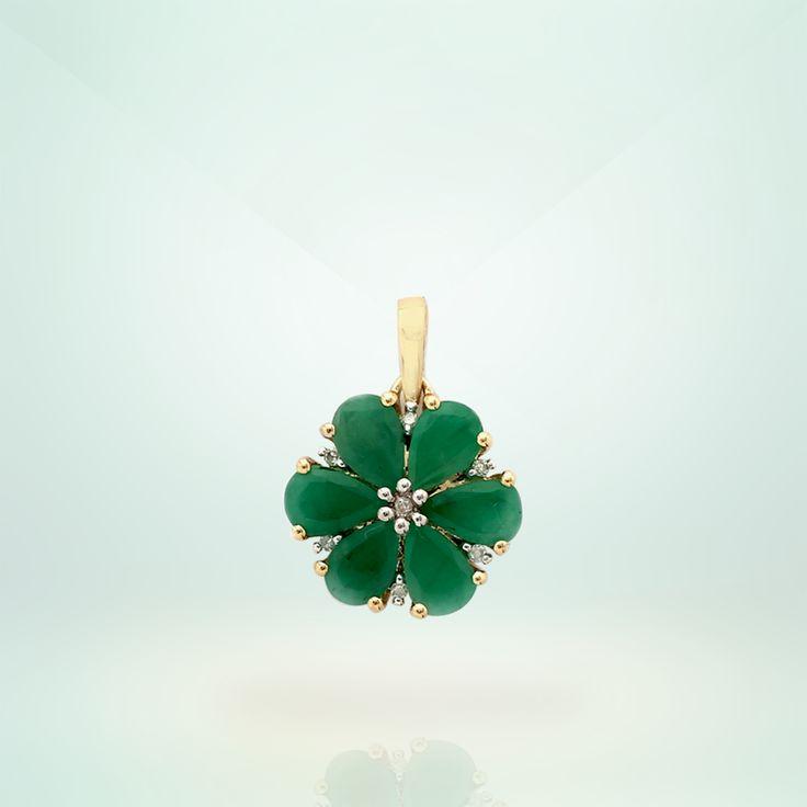 Emerald Pendant with Diamond in 9K Hallmark Gold   Gemporia India