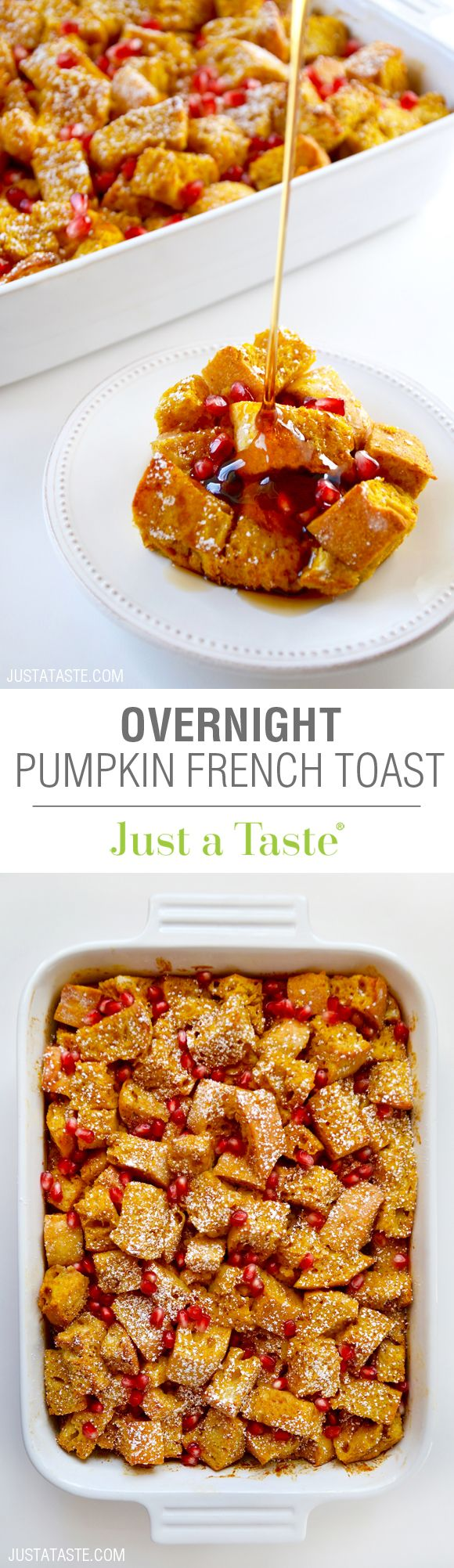 Overnight Pumpkin French Toast Bake recipe via justataste.com