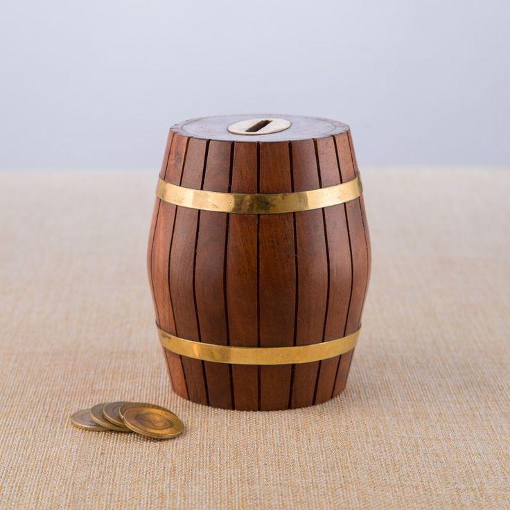 Wooden Coin Bank - Barrel Design