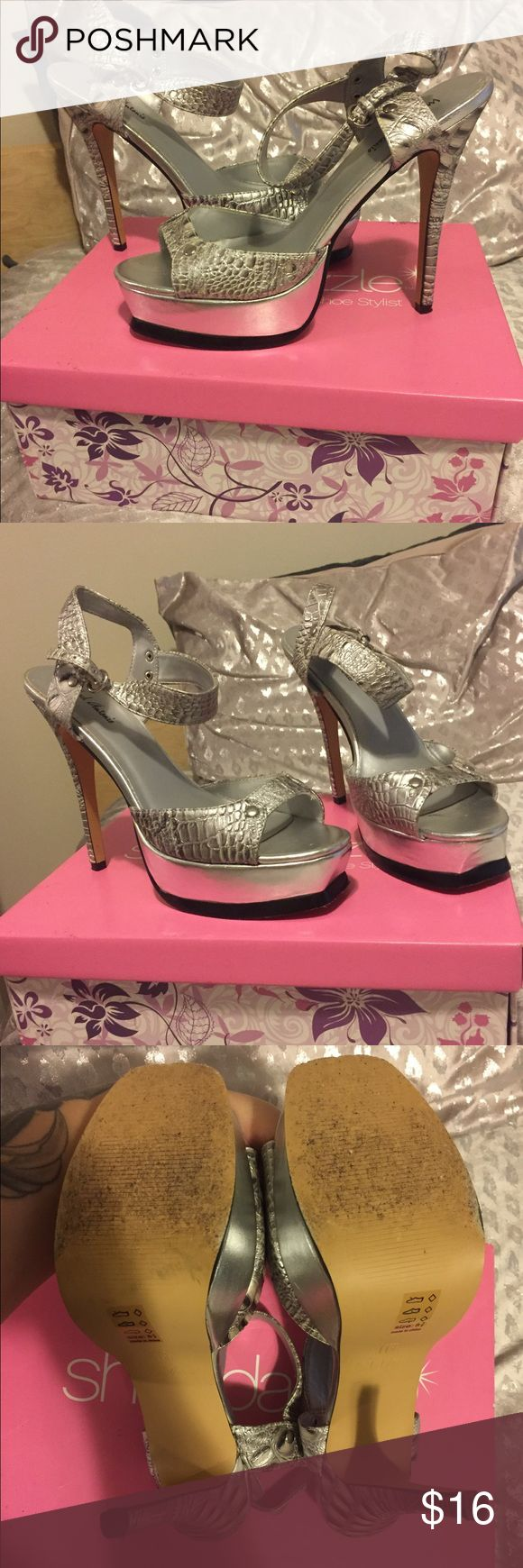 """Silver High Heel Shoe Dazzle Sandals Size 8.5 Beautiful silver high heel sandals by Shoe Dazzle in a size 8.5. Worn twice, in great condition. Heel height is about 4"""". Shoe Dazzle Shoes Sandals"""