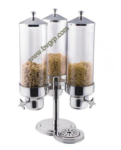 BDP0036 Teller Top Triple Rvs Cereal Dispenser/Snoep/Droog Voedsel Dispenser