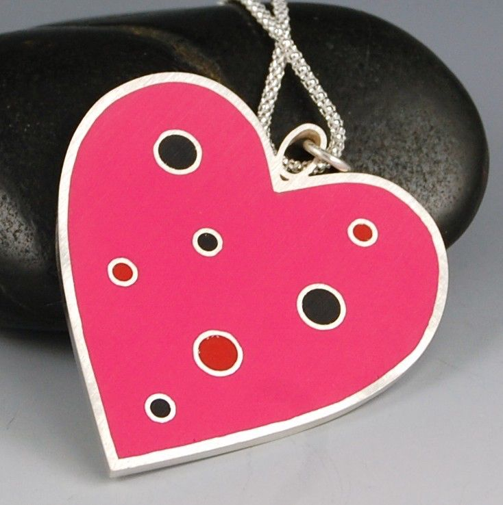 Heart Pendant-  Hot Pink Polka Dot Resin and Sterling Silver, Handmade by lsueszabo on Etsy https://www.etsy.com/listing/39183776/heart-pendant-hot-pink-polka-dot-resin