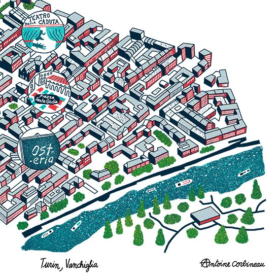 Turin map by Antoine Corbineau for Brussel Airlines