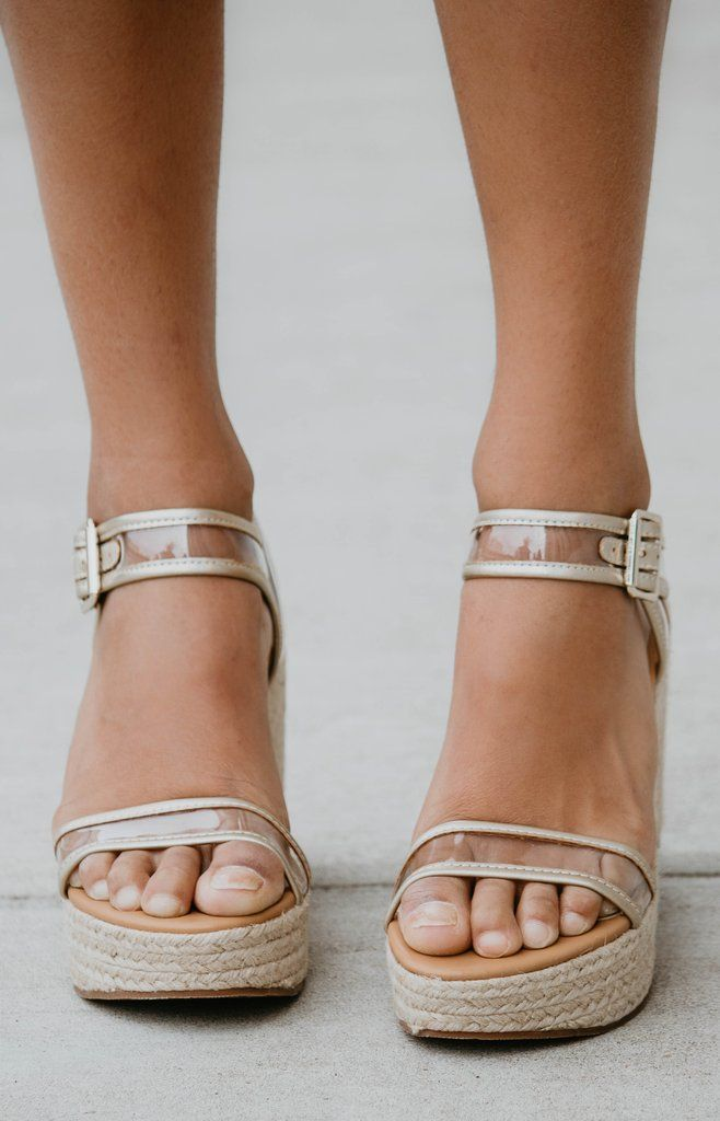 deed59b8eb4 Seychelles: Dahlia Sandal Wedge - Clear/Gold in 2019   New In: Shoes ...