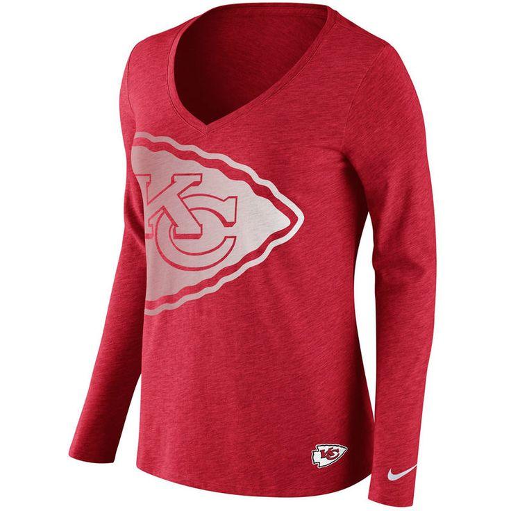 Kansas City Chiefs Nike Women's Logo Wrap Tri-Blend V-Neck Long Sleeve T
