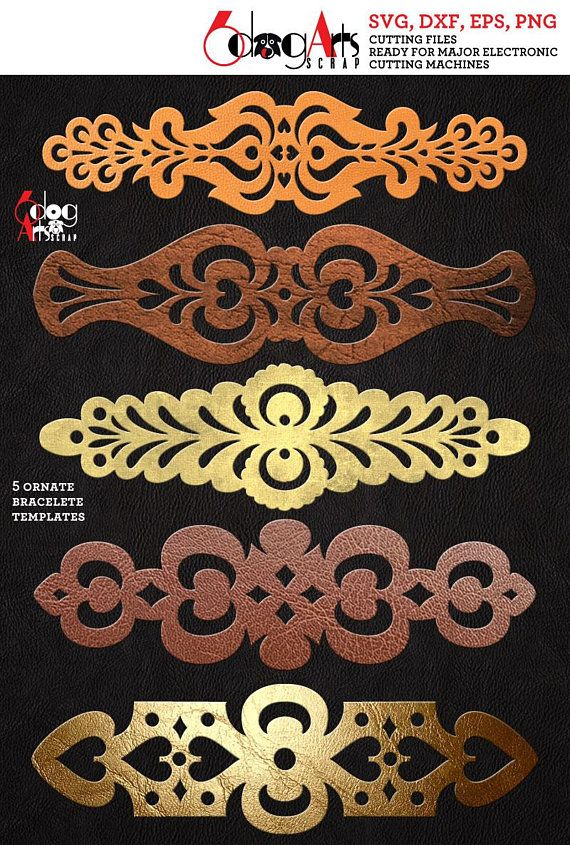 5 Ornate Cuff Bracelet Leather Jewelry Templates Vector