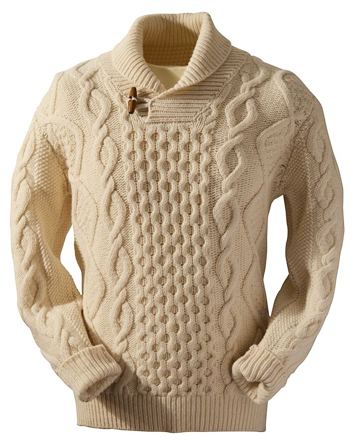 Aran Shawl Neck Sweater