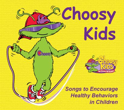 This CD introduces Choosy and the Choosy Kids Club, a very special member-only club for kids who make healthy choices. This CD includes songs to practice fundamental motor skills like jumping, hopping, and skipping. The Choosy Freeze song gives children practice at stopping and starting on cue. Children can practice repeating a rhythmic pattern with hands and feet when listening to the Choosy Says song. A Bye Bye song for closing routines plus instrumental tracks to allow for flexible use.