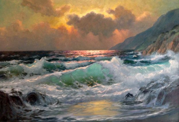 Untitled Seascape 26x38 by Alex Dzigurski | Home by the ...