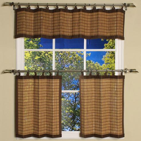 Bamboo Colonial Brown Ring Tab Curtain Valance By Versailles