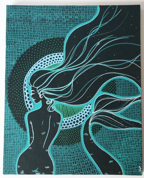 """A painting titled Mami Wata, by artist Lila from Toulouse, France.Here is her portfolio : https://www.behance.net/-lilaThe French Wikipedia page for """"Vaudou"""" explains that """"Mami Wata"""" doesn't come from English (""""Mammy Water""""), but it originally comes from the Mina language of South Togo : in that language """"Mamui Ata"""" means """"I keep my legs tight"""", because in fertility rituals dedicated to that Goddess, the person was told to tighten their legs in order to keep inside what they had been…"""