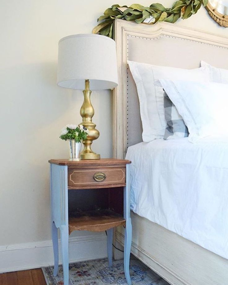 modern vintage bedroom ideas%0A Vintage bedside table or nightstand with nailhead French bed and gold lamp
