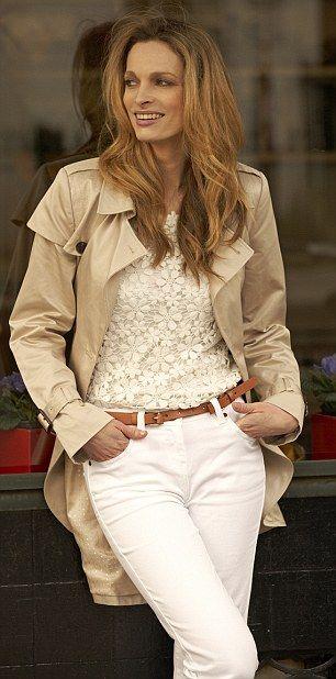 Lace T-shirt, £40, Oasis at johnlewis.com. Jeans, £24, next.co.uk Belt, £14.99, hm.com. Trench coat, £89, Preen Edition at debenhams.com