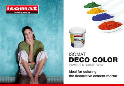 Did you know that ISOMAT's decorative cement mortar may be colored, offering a large number of final shades? ISOMAT DECO COLOR pigments in powder form are ideal for coloring DUROCRET-DECO FLEX, DUROCRET-DECO and DUROCRET-DECO FINISH decorative cement mortars. For more detailed information concerning the application of ISOMAT DECO COLOR, please refer to the technical datasheet of the product.