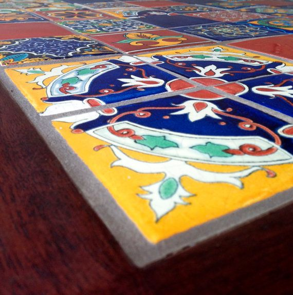 Handmade kitchen dining table authentic mexican tiles by for Traditional mexican kitchen