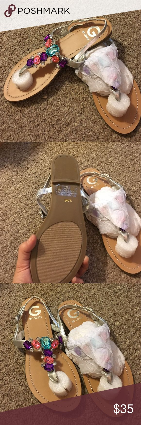 New GG Kyli 3 sandals Silver, flat sandals, multi color rhinestones on top G by Guess Shoes Sandals