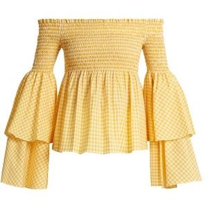 Caroline Constas Appolonia off-the-shoulder gingham-checked blouse