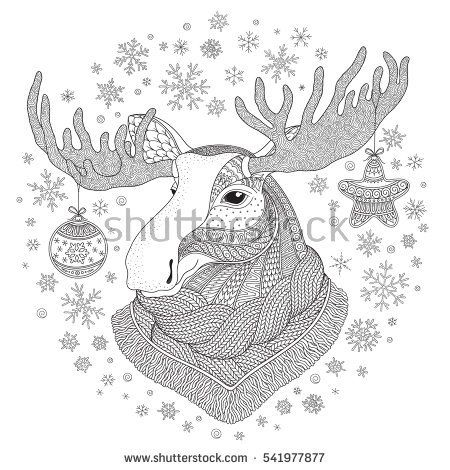 Deer. Hand-drawn  doodle pattern. Coloring page - zendala, for relaxation and meditation for adults, vector illustration, isolated on a white background. Zen doodle.