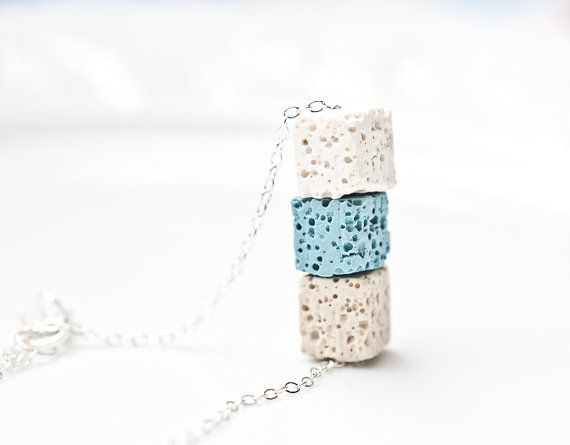 Necklace Lava Stone Cube Silver White Baby Blue Beige by daimblond