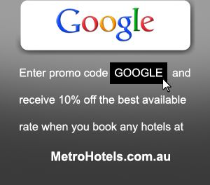 """Hotel Promotional Offer - 10% off the Best Available Rate using the promo code """"GOOGLE"""""""