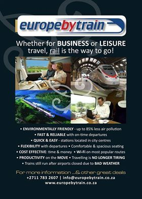 Whether for Business or Leisure travel, rail is the way to go!Visit us | www.europebytrain.co.za | and let us get you where you need to be.