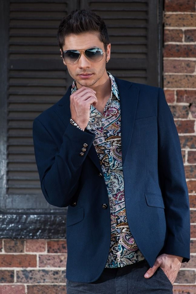 Men's Slim Fit Military Blazer – Navy Blue $129.95  #Blazers&Jackets #www.sieteclothingco.com.au