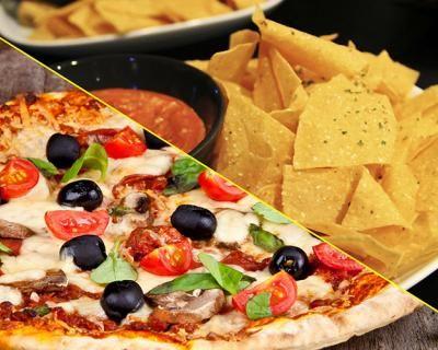 Pizza & Nachos : cena completa per 2 con chips con formaggio fuso, salsa chili e sour cream fatta in casa , pizza a scelta, birra o bibita o acqua, dolce e caffè a soli 19,9 € anziché 50 €. Risparmi il 60%! | Scontamelo