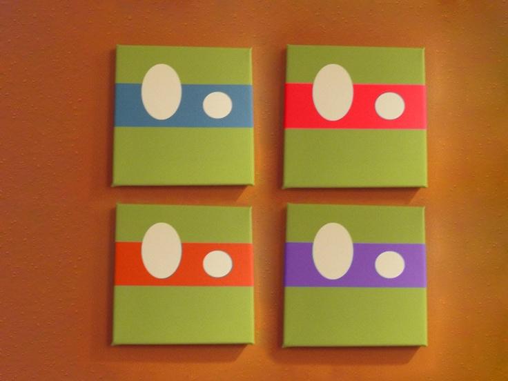 set of 8x8 geeky cool abstract tmnt ninja turle canvas print wall art decor 12500