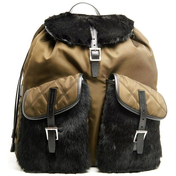 PRADA Backpack With Fur Details ($1,450) ❤ liked on Polyvore featuring men's fashion, men's bags and men's backpacks