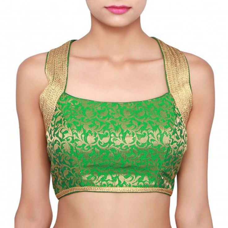 Pramukh Enterprise Green Jacquard Designer Blouse Material #SareeBlouse #Green #Jacquard