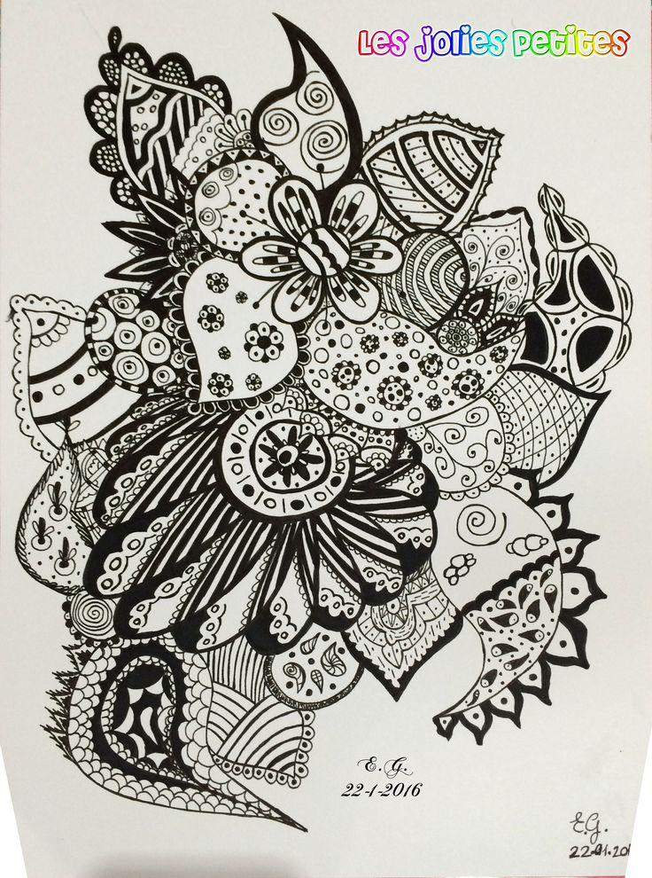 Secondo #doodle, stavolta in bianco e nero.  #paisley #mandala #zentangle #lesjoliespetites