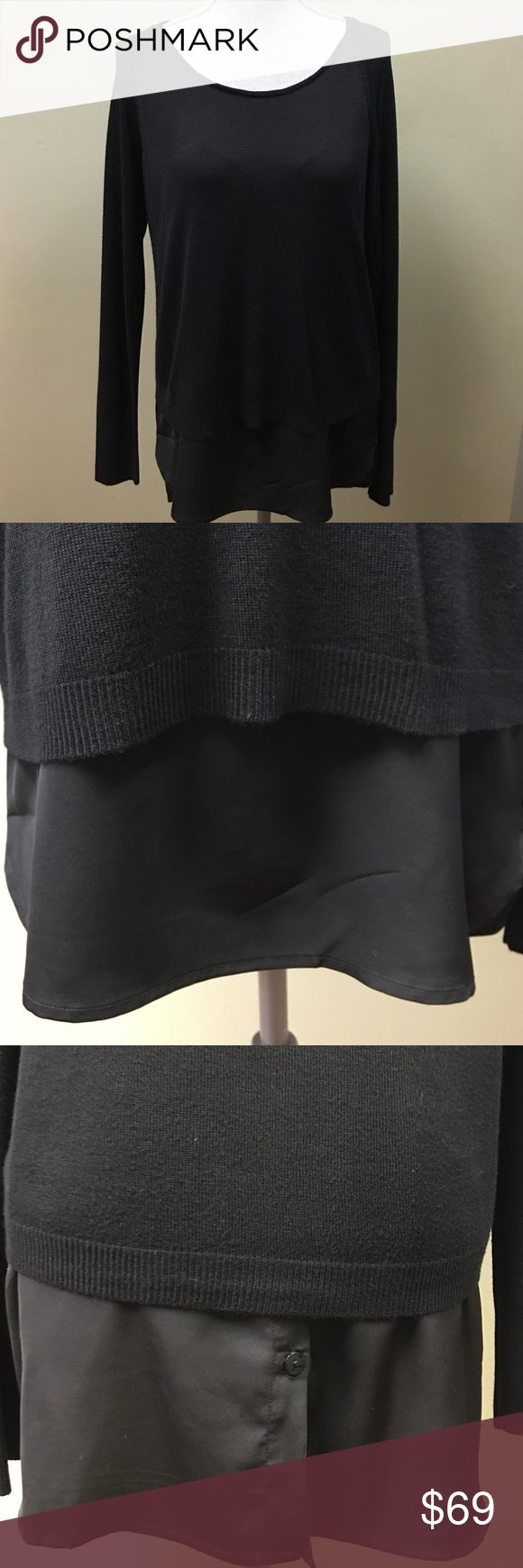Black Double Layered Top This black double layered top has a long chiffon under tank sewn in and peeks out under the top sweater layer. Button details on the backside. Brand new with tags! Yest  Tops Blouses